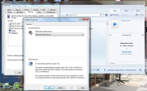 Select sound output in Windows Media Player