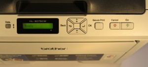 Brother HL-3075CW colour LED printer control panel detail