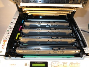 Brother HL-3075CW colour LED printer toner cartridges in place