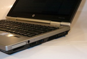 HP Elitebook 2560p business notebook right-hand-side connections - ExpressCard 34, SD memory card, audio input/output jack, DisplayPort, eSATA / USB, docking station connector, Kensington lock slot