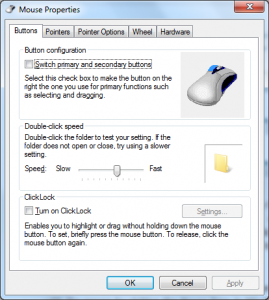 Windows mouse control panel