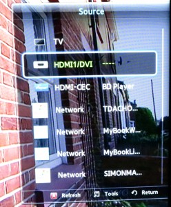 DLNA collections listed as sources on the TV