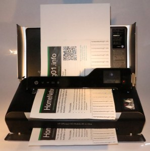 HP OfficeJet 150 mobile multifunction printer copying a document