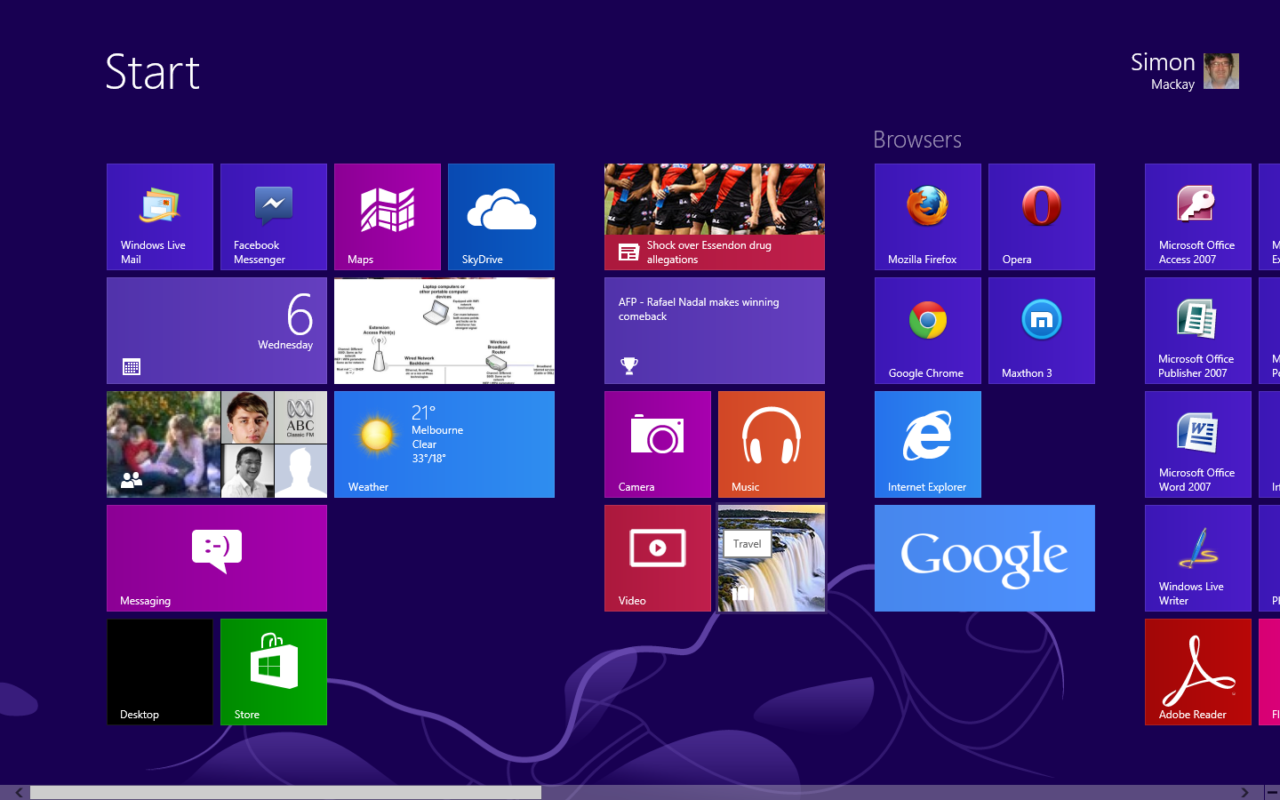 Windows 8 Modern UI start screen