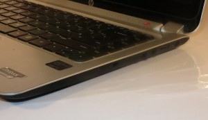 HP Envy 4 Touchsmart Ultrabook right-hand-side connections - separate headphone and microphone jacks, USB 2.0 connector and power socket