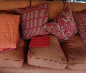 A similarly-coloured iPad can be at risk of being sat on when on the couch