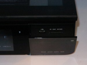 HP Envy 120 designer all-in-one printer card reader and USB port