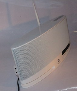 Boston Acoustics MC-200 Air wireless speaker left hand side view - headphone and AUX IN sockets