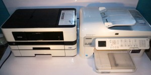 Brother MFC-J410DW next to a regular multifunction inkjet printer