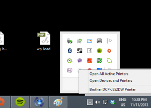 Right click on Printer icon in Desktop notification area to bring up these options when a print job is in progress