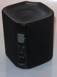 Pure Jongo S3 wireless speaker rear view of Pure Jongo S3 with LCD screen and Audio button