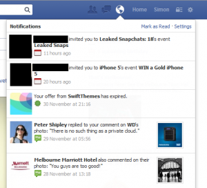 Facebook event spam notification in Notifications list - comes from a Friend