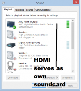The HDMI input's audio function serves as its own soundcard
