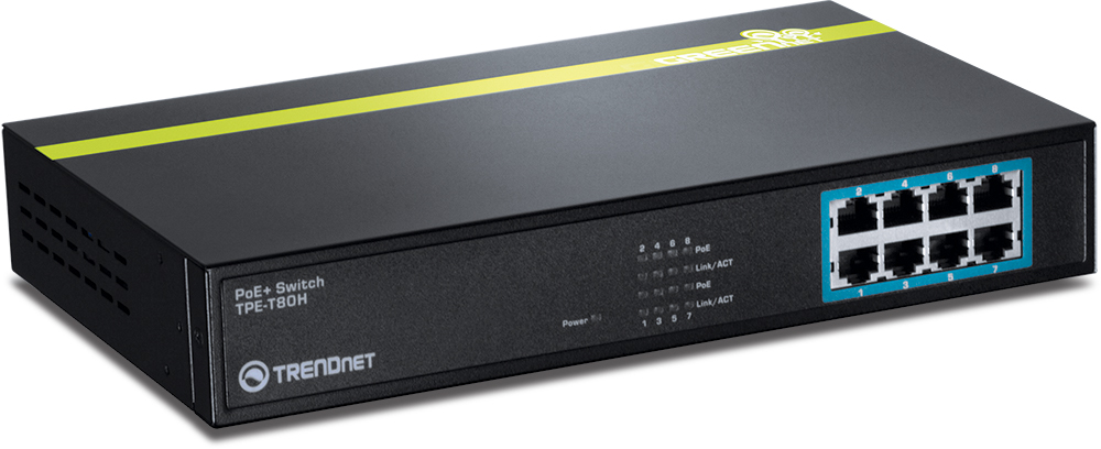TRENDNet TPE-T80H 8-Port Power-Over-Ethernet switch Image: TRENDNet press image