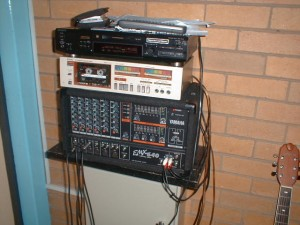 Sony MDS-JE520 MiniDisc deck working as an audio playout deck for a church