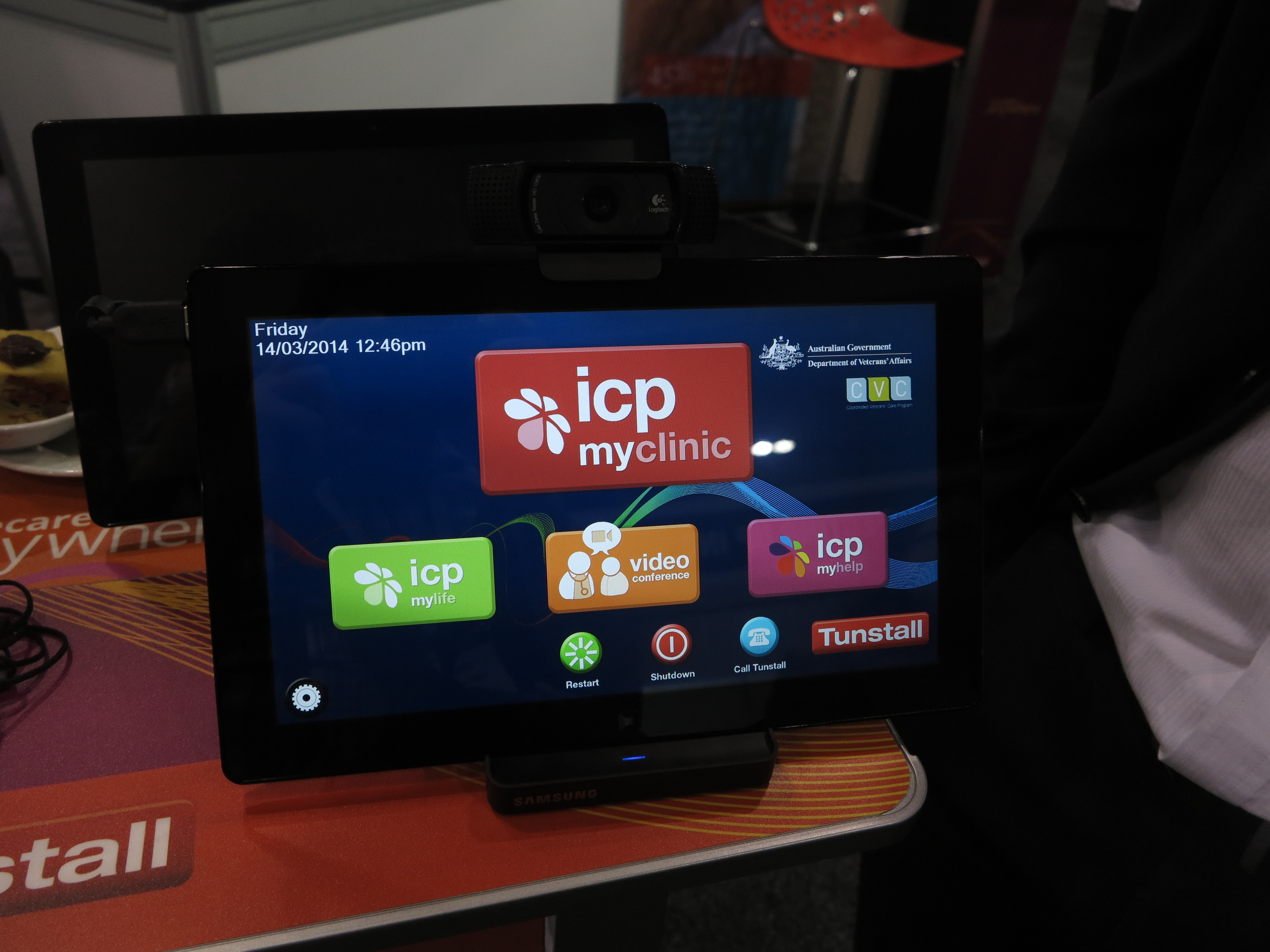 tablet computer used as part of in-home telemedicine setup