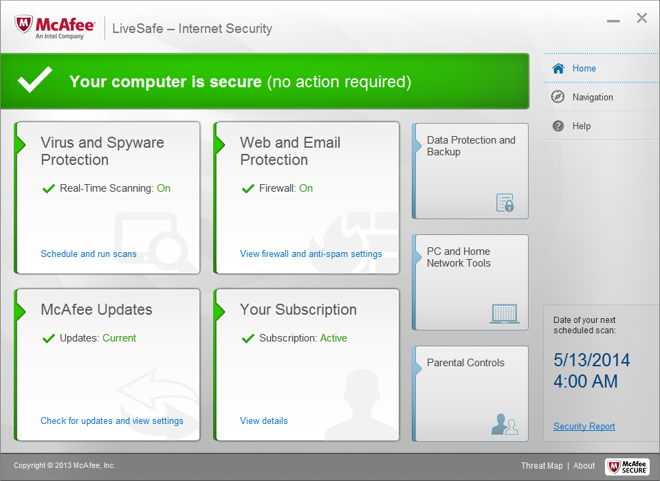 McAfee LiveSafe desktop security program