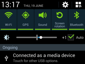 USB device type notification on Android