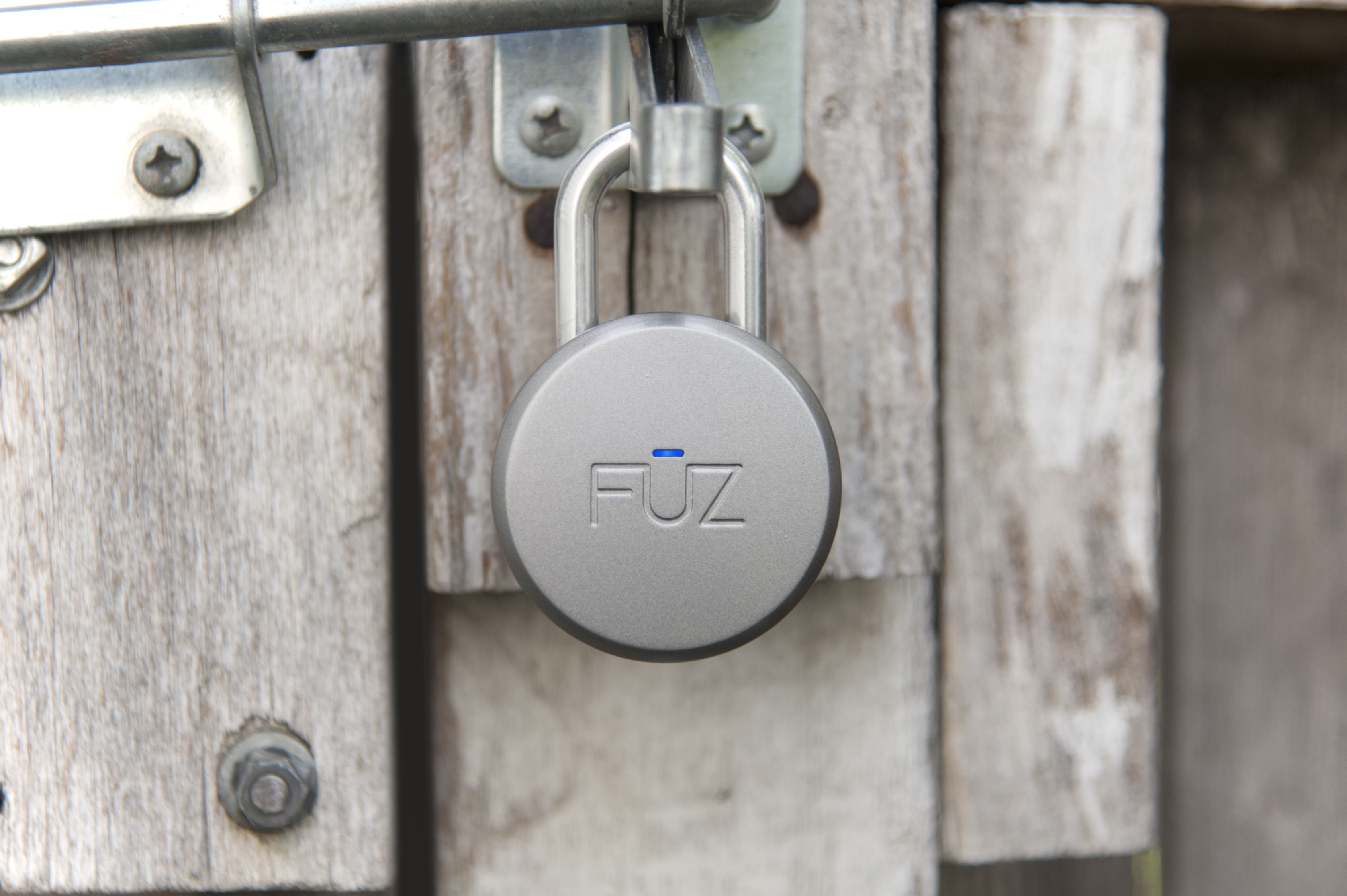 Noke Bluetooth padlock on gate - press image courtesy Fuz Designs