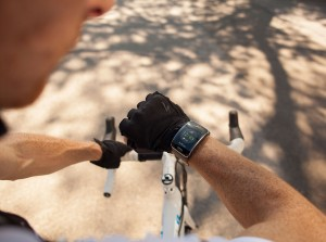 Samsung Gear S smartwatch (him on bike) press picture courtesy of Samsung