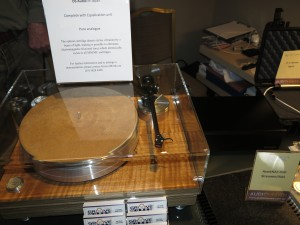 A turntable equipped with an optical cartridge that uses light to follow the stylus vibrations