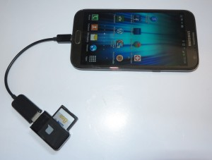 SD card connected to Android smartphone via OTG cable