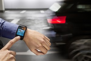 Smartwatch control surface for car press picture courtesy of BMW America