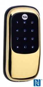 Yale Real Living NFC-capable smart deadbolt - outside view (brass finish) press picture courtesy of Yale America