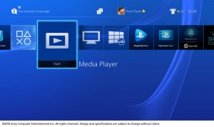 Sony PS4 menu screenshot courtesy of Sony Computer Entertainment