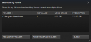 Library Folders list in Steam