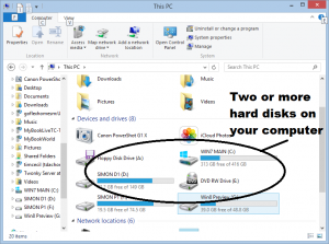 Windows Explorer (File Explorer) - two or more hard disks
