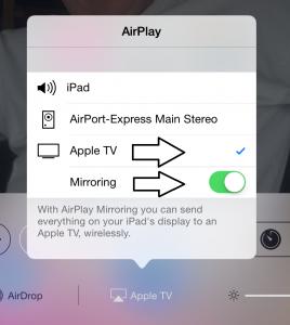 Apple TV - Mirroring on - iPad