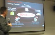 Presentation shown on retractable screen