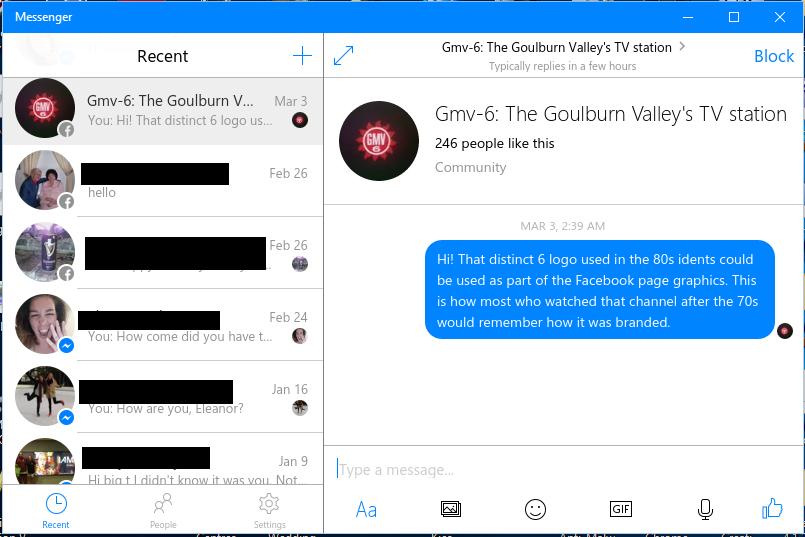 Facebook Messenger Windows 10 native client