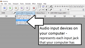 Audacity - audio inputs