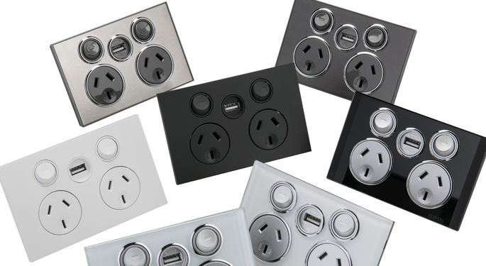 Clipsal Saturn USB double power outlets press image courtesy of Clipsal