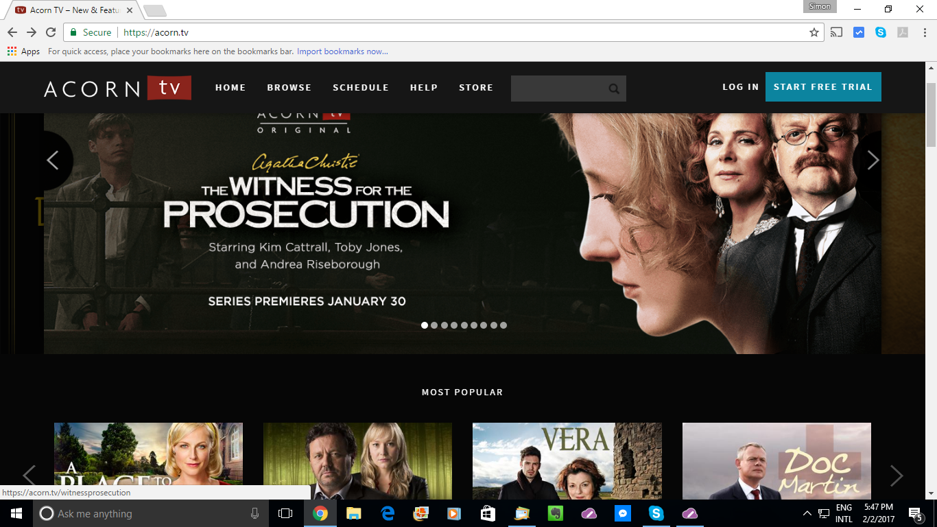 Screenshot of Acorn TV website