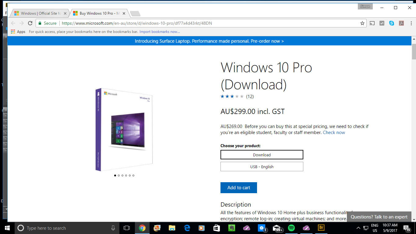Windows 10 Pro buy-to-download screen