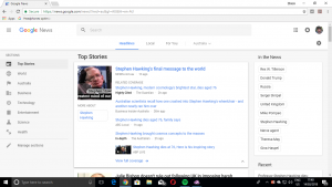 Google News - desktop Web view