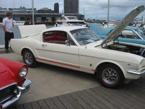 Ford Mustang fastback at car show