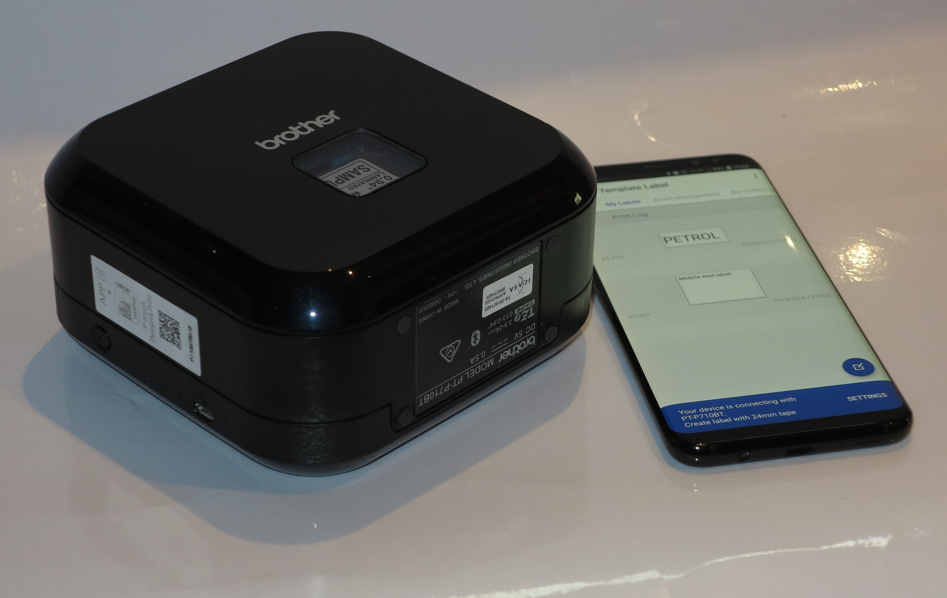 Brother PT-P710BT portable Bluetooth label printer with smartphone