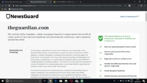"Detailed ""Nutrition Label"" report from NewsGuard about The Guardian"