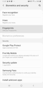 Android security menu