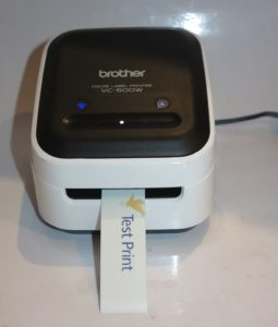 Colour label printed out of Brother VC-500W direct-thermal colour label printer