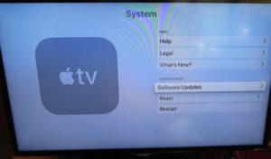 tvOS Settings - System - Software Updates option