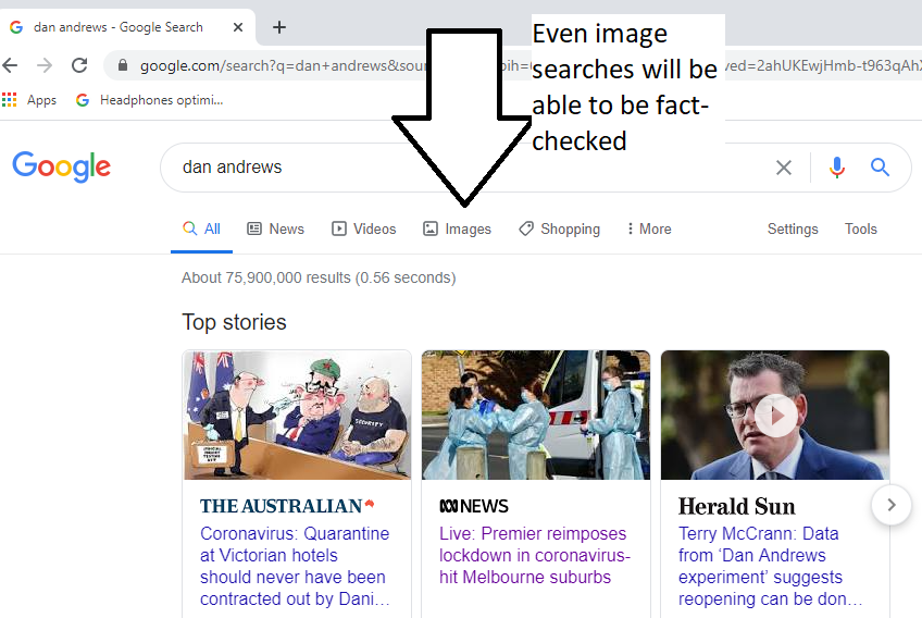 Google search about Dan Andrews - Chrome browser in Windows 10