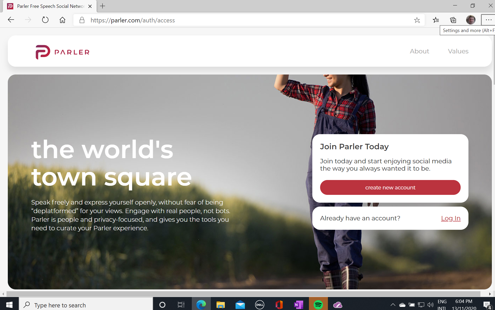 Parler login page screenshot